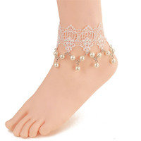 Fashion Women Jewelry Gothic Fresh Sweet Lace Anklet White