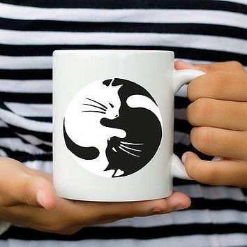 Cat Yin & Yang Coffee Mug or Tea Cup for the Cat Lover - Clever Kitten Designs