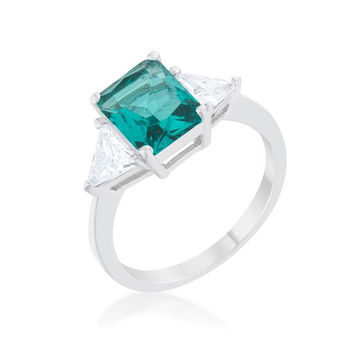 Classic Aqua White Gold Rhodium Engagement Ring, size : 06