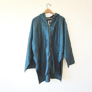 Vintage 90's TOTES Green IRIDESCENT Hooded Anorak Rainwear Lightweight Rain Jacket Sz XXL