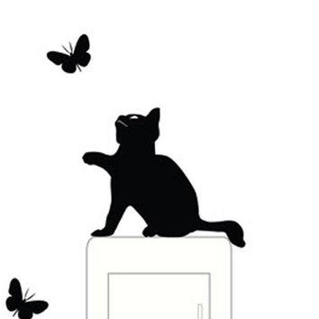 VONFC9 5pcs Cute Cat switch stickers wall stickers home decoration Room Window Wall Decorating Vinyl Decal Sticker Decor Cartoon