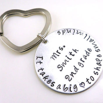 Big Hearted Personalized Hand Stamped Teacher Key Chain