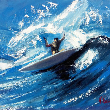 "Italian painting ""The Big wave"" surf sea artwork of Maurizio Lucarelli original oil"