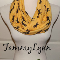 Marigold Yellow with Black Running Horses Jersey Knit Infinity Scarf Stretch Knit Soft Scarf Women's Accessories
