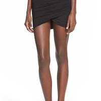 Junior Women's Lush Faux Wrap Miniskirt,