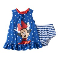 Disney's Minnie Mouse Starfish & Seashell Dress & Bloomers Set - Baby Girl, Size: