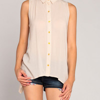 Double Tail Gold Button Blouse