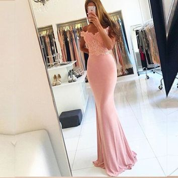 Vestido de festa Sexy Off The Shoulder Lace Mermaid Prom Dresses 2017 abendkleider Modern Pink Evening Dress For Party S29