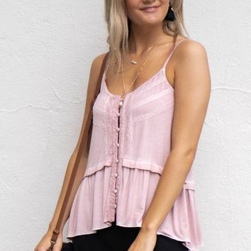 Keepsake Pink Button Down Babydoll Top