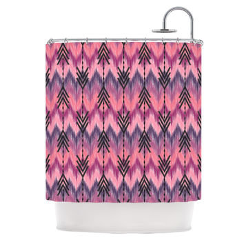 "Amanda Lane ""Indigo Orchid Chevron Arrows"" Pink Purple Shower Curtain"
