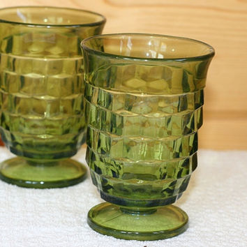 Green Fostoria juice glasses set of 4