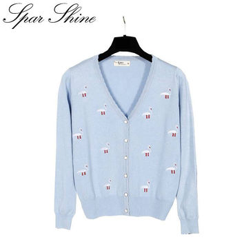 Spring V-neck long-sleeved cardigan  female sweater  rabbit embroidered knit plus size cardigan jacket