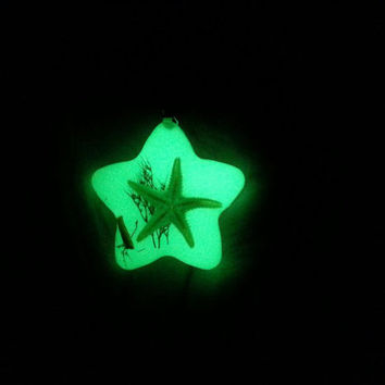 Starfish - Taxidermy - Glow in the Dark - Pendant / Necklace
