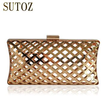 Special Metallic Hollow Out Women's Pouch Chain Messenger Bags Evening Bag Clutch Metal Box Ladies Purse Shoulder Bag BA309