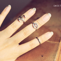 3 Geometric, Peace, and Simple Midi Rings, Above Knuckle ring, , twist ring