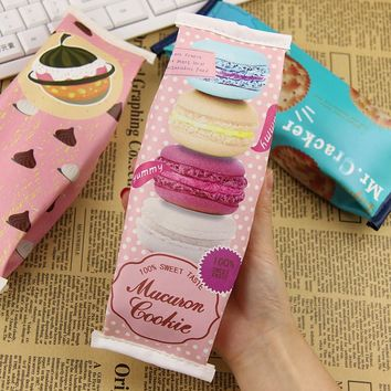 1 PC Korea Fun Macaron Cookies Pencil Bags Creative Stationery Students Snack Pencil Case Give to Children Birthday Gift