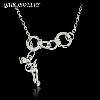 QIHE JEWELRY Lariat Style Handcuffs And Gun Necklace Partners In Crime Best Friend Jewelry