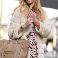 Beige Faux Fur Fluffy Coat
