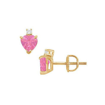 Diamond and Pink Sapphire Stud Earrings : 14K Yellow Gold - 2.04 CT TGW