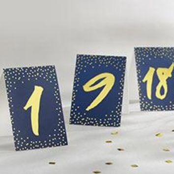 Navy and Gold Foil Tented Table Numbers 1-18