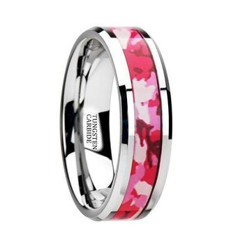 Pink and White Camouflage Tungsten Wedding Ring Beveled Polished Finish - 6mm & 8mm