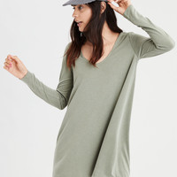 AE Long Sleeve Knit Swing Dress, Olive