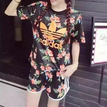 Adidas Women Casual Letter Floral Print Short Sleeve Shorts Set Two-Piece Sportswear