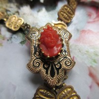 Antique Book Chain Coral Cameo Necklace in Gold Fill