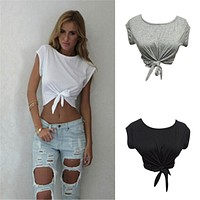 Women Knotted Tie Front Crop Tops Cropped T Shirt Casual Blouse Tanks camis White Grey Color