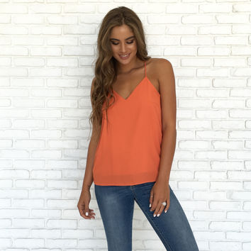 Jersey Shore Tank Blouse In Tangerine