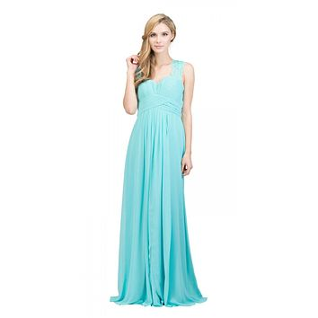Starbox USA Tiffany Blue Long Bridesmaids Dress Cut Out Back Empire Waist