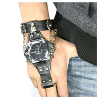 Punk Rock Skull Skeleton Gothic Leather Quartz Wrist Watch