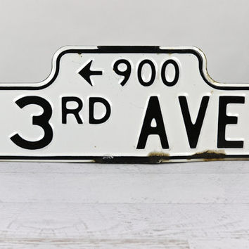 Old Enamel Street Sign, Vintage Street Sign, Industrial Decor