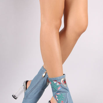 Denim Embroidery Chunky Clear Lucite Heeled Booties