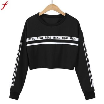 2017 Women Casual Loose Hoodies Sweatshirts Fashion White Letter Print Crop Sweatshirt Top Blouse Womens Clothes Sudaderas Mujer