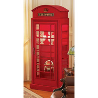 Park Avenue Collection British Telephone Booth Display Cabinet