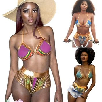 South Africa bikini gold stamp printing high waisted character Swimsuit
