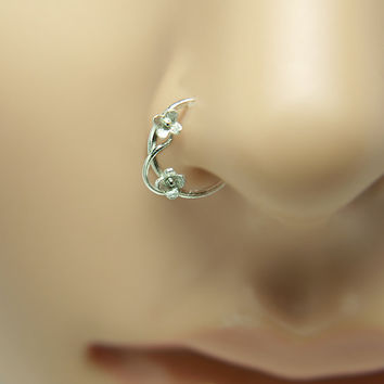 Nose Ring Flower motif Customize Sterling silver ,ring nose, nose rings, nose hoops,16 gauge,18 gauge,20 gauge,21gauge,nose piercing,