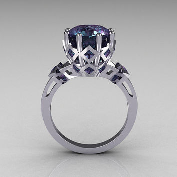 Modern Vintage Tatyana Collection 14K White Gold 3.0 Carat Alexandrite Solitaire Wedding Ring R303-14WGAL