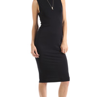 KNOTTED BACK MIDI DRESS - BLACK