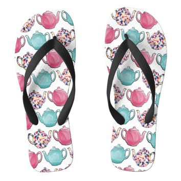 Cute colourful teapot design seamless pattern flip flops | Zazzle.co.uk