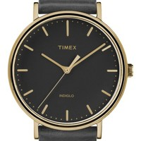 Timex® Fairfield Leather Strap Watch, 41mm | Nordstrom