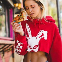 2018 Autumn Rabbit Printed Red Pullovers Loose Female Hooded Hoodies Navel Bare Cropped Mujer Tops Long Sleeve Sweatshirts Women
