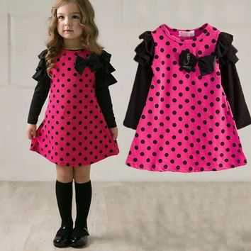 Autumn spring children clothing girls polka dot dress long sleeve kids girls princess dress kids clothes