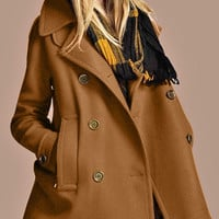 Camel Double-Breasted A-Line Coat