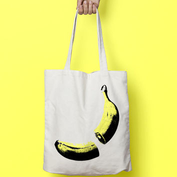 Banana Tote Bag Canvas - Canvas Tote Bag - Printed Tote Bag - Market Bag - Cotton Tote Bag - Large Canvas Tote Funny Quote Bag