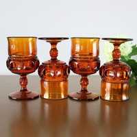 King's Crown Amber Water Goblets, Set Of 4
