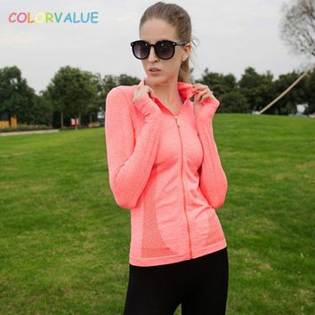 Colorvalue Quick Dry Jogging Gym Outwear Women Full Zipper Fitness Sport Jersey Slim Fit Yoga Running Jacket with Thumb Holes