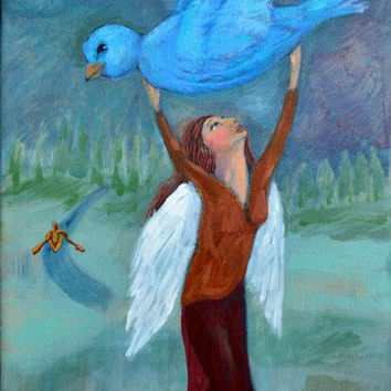 Original Oil Painting Whimsical Woman with Wings by ArtByJaneane