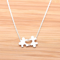 tiny HEART PUZZLE necklace,(2 colors) | girlsluv.it